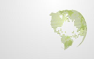 Groene Eco-aarde abstracte globale puntkaart op witte grijze achtergrond. Modern ontwerpsjabloon voor de presentatie van het behang. Vector grafische illustratie. Dag van de aarde concept. Futuristische technologie abstract