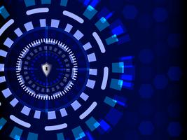Blauwe cyberbeveiliging met schildbeschermer, technologie en informatieconcept