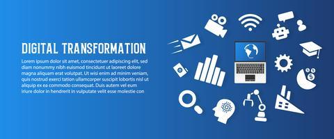 Digitale transformatie en nieuwe abstracte de kunstachtergrond van de tendenstechnologie. Kunstmatige intelligentie en big data-concept. Bedrijfs de groeicomputer en investeringsindustrie 4.0 vectorillustratie