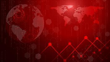 Rode technologiecirkel en computerwetenschaps abstracte achtergrond. Bedrijf en verbinding. Futuristisch en industrie 4.0-concept. Internet cyber en netwerkthema. vector
