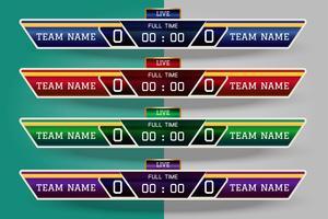 Scorebord digitaal scherm grafische sjabloon voor uitzending van voetbal, voetbal of zaalvoetbal, illustratie vector ontwerpsjabloon voor voetbal competitie wedstrijd. EPS10 vector bestand ontwerp