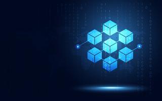 Blockchaintechnologie fintech cryptocurrency blokketenserver abstracte achtergrond. Gekoppeld blok bevat cryptografiehash en transactiegegevens. Nieuwe futuristische systeemtechnologie. Vector illustratie.