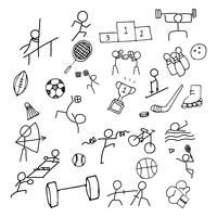 Sport Doodle kunst pictogramserie. Dun lijnpictogram voor zeespel en Olympisch spel. Hand getekend grafisch ontwerp kunst. Oefening en concurrentie concept. vector