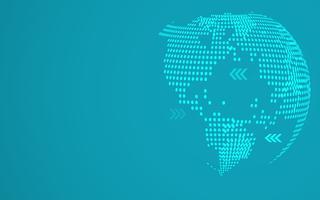 Blauwe abstracte globale punt kaart achtergrond. Radiale gradiënt. Modern designbehang voor rapport- en projectpresentatiesjabloon. Vector grafische illustratie. Punt en cirkelvorm. Technologie abstract