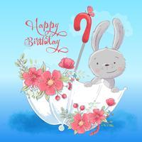 Illustratieprentbriefkaar of prinses voor de ruimte van een kind - leuk konijn in een paraplu met bloemen, vectorillustratie in beeldverhaalstijl