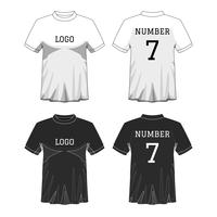 Sport Heren t-shirt met korte mouw in voor- en achterkant. Zwart en wit of ontwerp bewerkbare kleur. Bespotten van sport slijtage concept. Sport en mode thema. EP10 Vector illustratie.