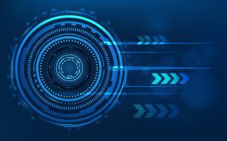 Blauwe technologiecirkel en computer abstracte achtergrond met blauwe en binaire codematrijs. Bedrijf en verbinding. Futuristisch en industrie 4.0-concept. Internet cyber en netwerkthema. HUD-interface