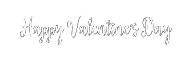 Happy Valentijnsdag vakantie belettering ontwerp. Zwarte lijn Valentines tekst met hart script kalligrafie lettertype. Illustratie vector.