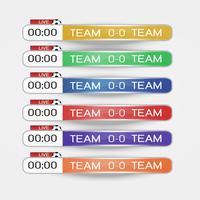 Live scorebord Digitaal scherm grafische sjabloon voor uitzending van voetbal, voetbal of zaalvoetbal, illustratie vector ontwerpsjabloon voor voetbal competitie wedstrijd. EPS10 vector bestand ontwerp