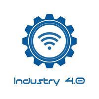 Industrie 4.0 in evolvente versnelling met draadloos. Productie en bedrijfsconcept. Cyber-fysieke controle en feedback. Futuristisch van het thema van het wereldintelligentienetwerk. Internet van dingen.