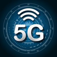 5G cellulaire mobiele communicatie blauwe embleemachtergrond met de overdracht van de de lijnverbinding van het globale netwerk. Digitaal transformatie- en technologieconcept. Enorme toekomstige apparaatverbinding met supersnel internet vector