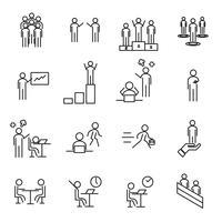 Mensen in pictogram vector op het werkgebied dunne lijn. Kantoor- en managementconcept. Teken en symboolthema. Witte geïsoleerde achtergrond. Illustratie vector.