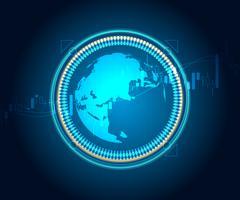 wereldkaart met kaarsstok voorraad en forex grafiek