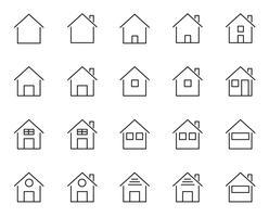 20 pictogrammen voor thuis en in huis. Leven van mensen thema. Witte geïsoleerde achtergrond. Teken en symbool concept. Dunne lijnpictogrammen