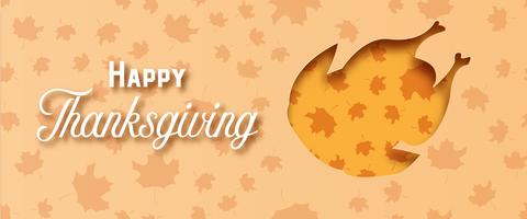 Gelukkige Thanksgiving day met het document van Turkije kunst op geeloranje achtergrond. Vakantie en festival concept. Decoratie en wenskaartthema. Papercraft en origami voor menu van het dinervoedselrestaurant
