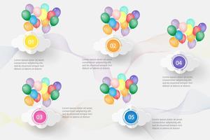 Ontwerpsjabloon Business 5 stappen infographic grafiekelement met plaatsdatum voor presentaties, Vectoreps10.