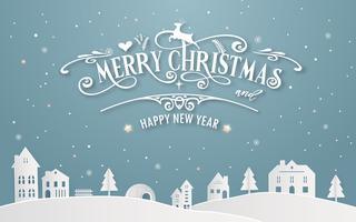 Vrolijke Kerstmis en Gelukkig Nieuwjaar van sneeuwhuisstad met het bericht van de typografiedoopvont achtergrond de winter blauwe pastelkleur. Papier kunst en digitale ambachtelijke illustratie vector vieren uitnodiging kaart thema