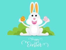 schattig konijn met easter egg happy easter dag