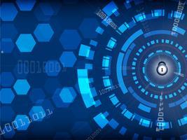 Blauwe Cyber-veiligheidsachtergrond met slot en digitaal, Technologie en Informatieconcept