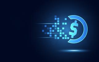 Futuristische blauwe achtergrond van de de transformatie de abstracte technologie van de Amerikaanse dollarmunt. Moderne technologie en big data-concept. Computer voor bedrijfsgroei en innovatieve investeringen. Vector illustratie