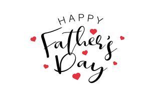 Happy Fathers Day kalligrafie tekst met mini rode harten. Vakantie en decoratie woord en citaten concept. Vector illustratie