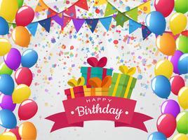 Feest en gelukkige verjaardagsvieringen gevuld met ballonnen en kleurrijke geschenken. vector