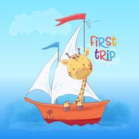 Prentbriefkaar leuke giraf die op de boot drijft. Cartoon stijl. Vector