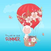 Prentbriefkaar leuke lama vliegen in een ballon. Cartoon stijl. Vector