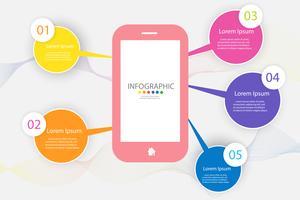Ontwerpsjabloon Business 5 stappen infographic grafiekelement met plaatsdatum voor presentaties, Vectoreps10. vector