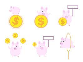 schattig varken met geld munt platte ontwerp vector