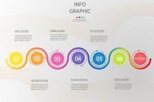 Ontwerpsjabloon Business 6 stappen infographic grafiekelement met plaatsdatum voor presentaties, Vectoreps10. vector