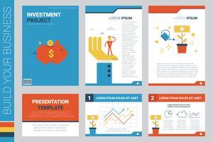 Boekomslag en presentatiesjabloon van investeringsproject vector
