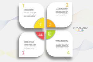 Ontwerpsjabloon Business 4 stappen infographic grafiekelement met plaatsdatum voor presentaties, Vectoreps10.