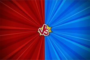 Komische Vechtende Cartoon Achtergrond. Blauw Versus Rood. Vector illustratie ontwerp.
