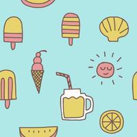 zomer pictogrammen naadloze patroon achtergrond vector