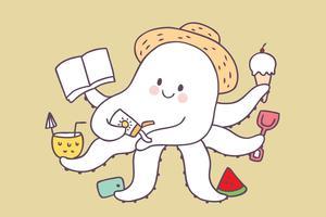 Octopus van de beeldverhaal de leuke zomer ontspant vector. vector