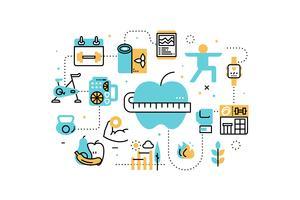 Trainingoefening en de pictogrammenillustratie van de dieetlijn