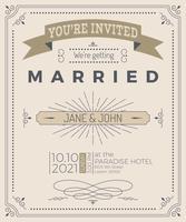 Vintage bruiloft uitnodigingskaart vector