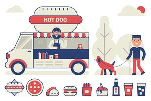 Voedsel vrachtwagen concept vector
