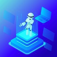 Super menselijke kunstmatige intelligentie Concept Vector