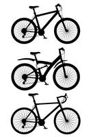pictogrammen sport fietsen zwart silhouet vectorillustratie instellen