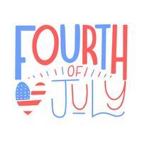 Leuke letters over de vierde juli met hart vector