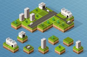 Set van isometrische stad