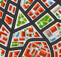 Plan voor de grote stad met straten, daken, auto's vector