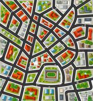 Plan voor de grote stad met straten, daken, auto's