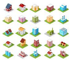 set van pictogrammen isometrische huis