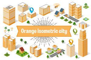 Oranje stadswolkenkrabber
