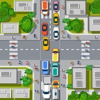 Stedelijke kruispunten met auto's vector
