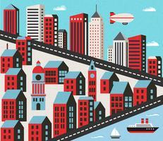 Platte stad met huizen