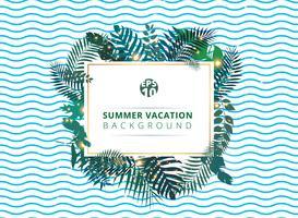 Trendy tropische zomer met exotische palmbladen of installaties en verlichtingseffect op blauwe golfachtergrond.